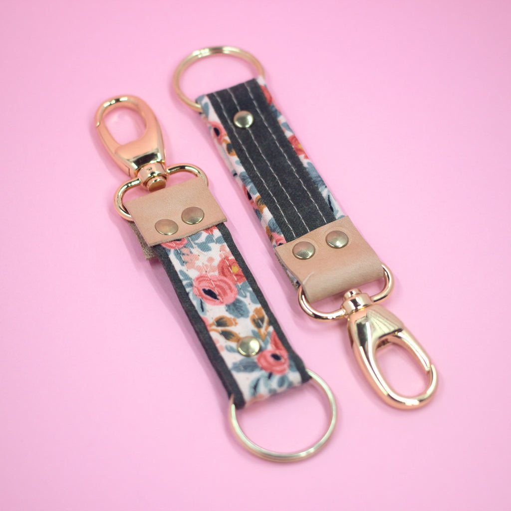 Leather Key Clip, Rosa