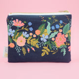 Navy Bouquet Small Zip
