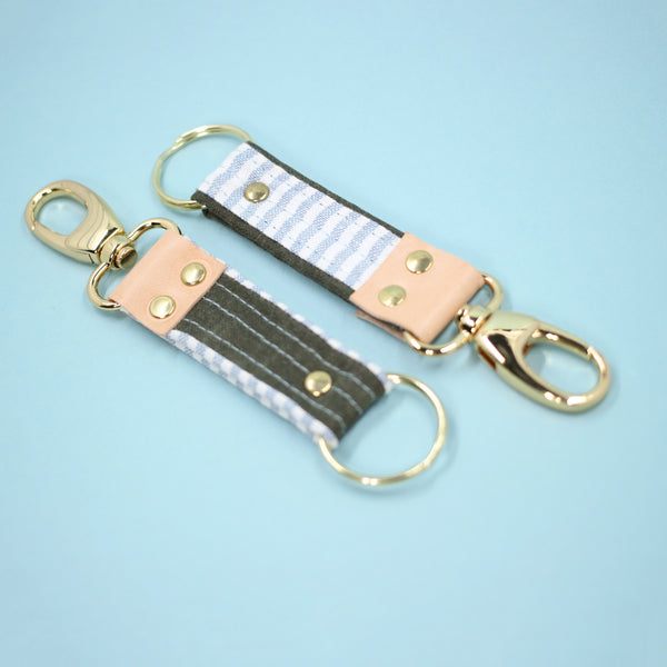Leather Key Clip, Chambray Stripe