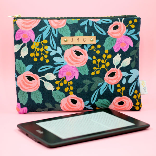 Navy Rosa Kindle Case