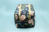 Navy Peony Double Zip Makeup Bag