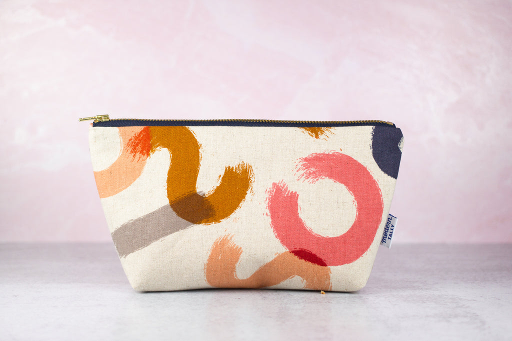 Zipper pouch in abstract brushstrokes