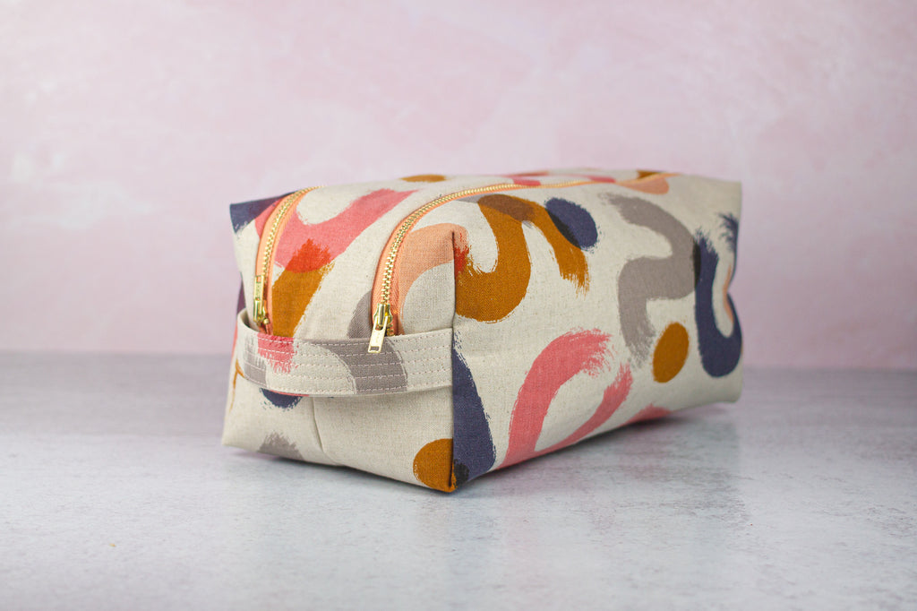 large double zip toiletry case in abstract canvas