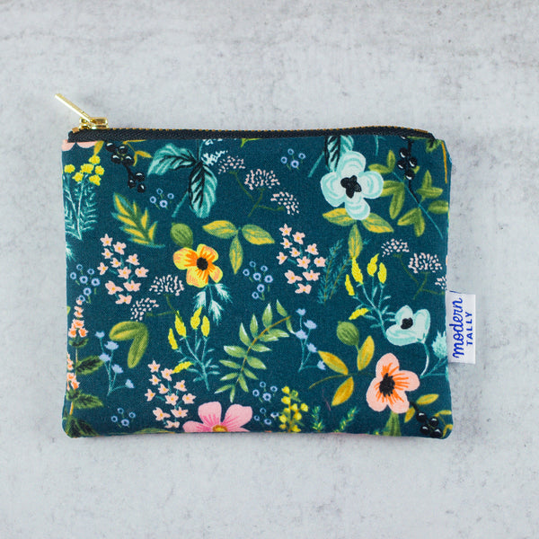 Navy Floral Small Zip