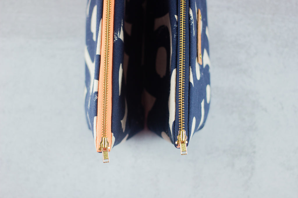 navy zippered pouches