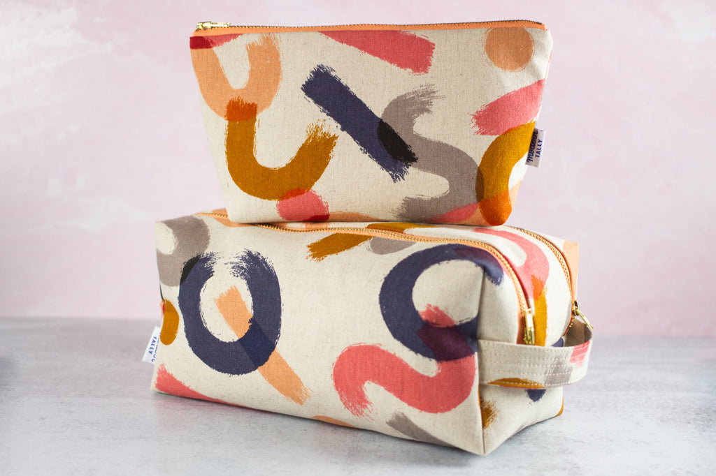 Zipper pouch and dopp kit matching set.