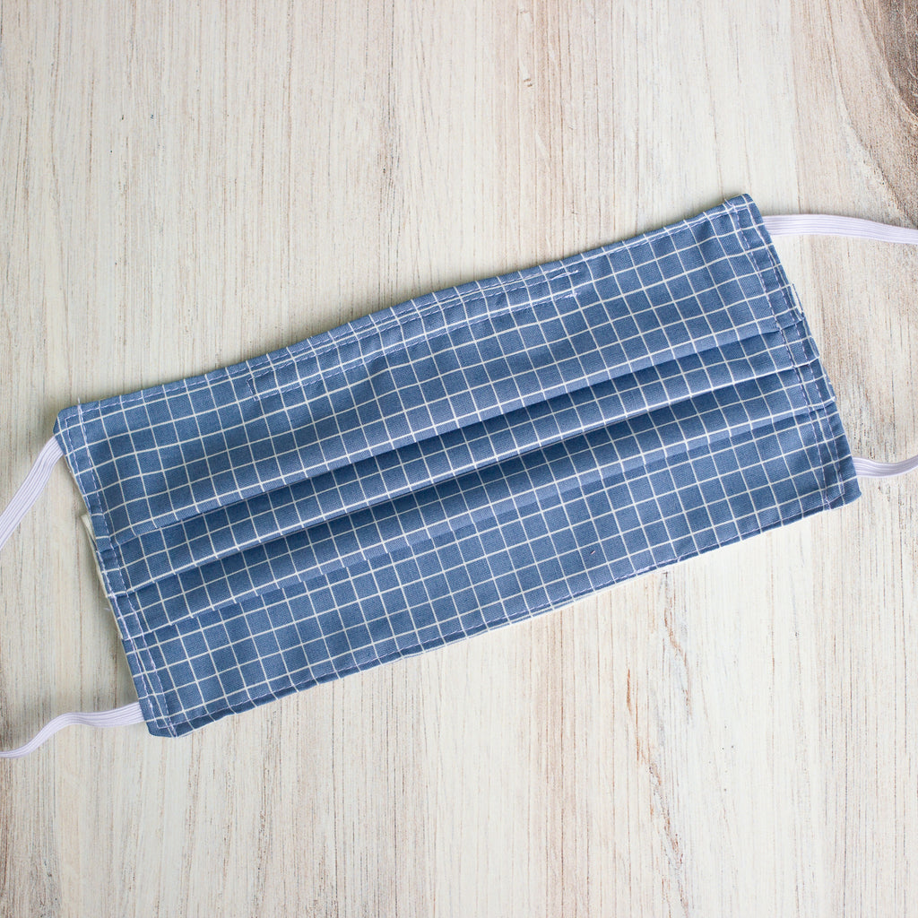 Blue Grid Cloth Face Mask