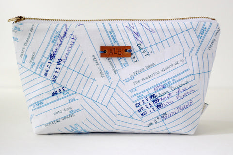 Library Card Makeup Bag