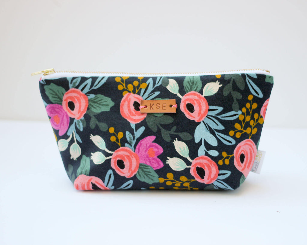 Navy Rosa Makeup Bag