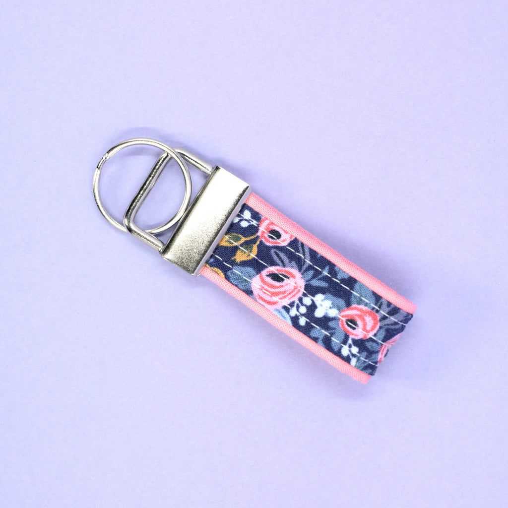 Mini Key Fob, Navy Rosa