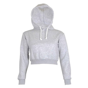 Solid Crop Hooded Pullover