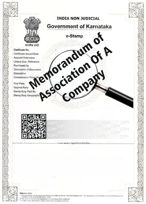 eStamp Memorandum Of Association of a Company