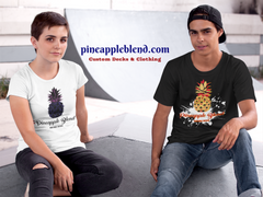freinds at skate park in pineapple blend t shirts