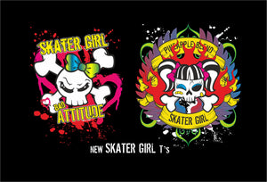Skater Girl Bad Attitude Logo fashion T-Shirt