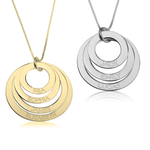 Mother's Necklace with Multiple Engraved Discs
