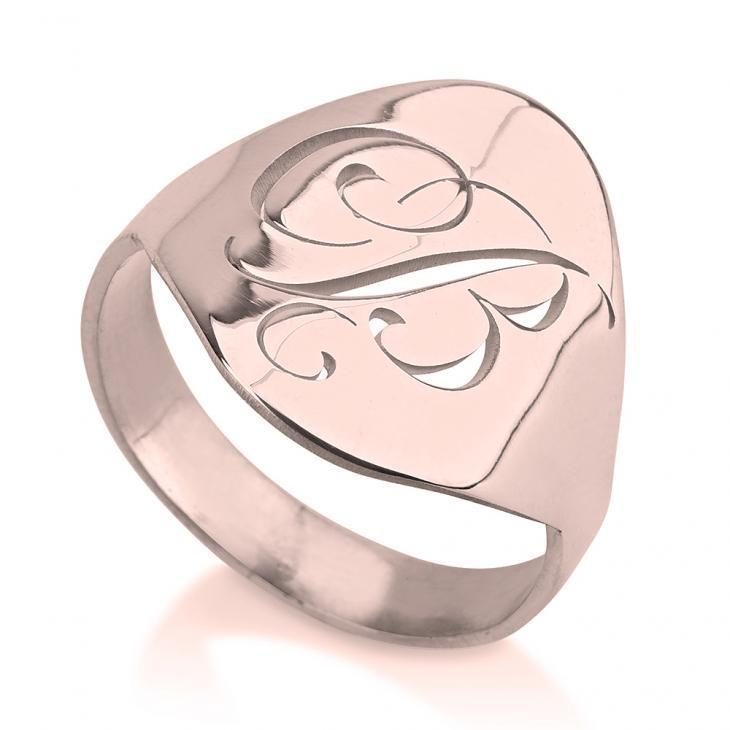 Personalized Cutout Initial Ring - Rose Gold Rings