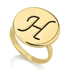 Round-faced Initial Ring - 24k Gold Plated Rings / Gold Rings