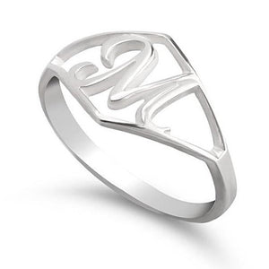 Diamond Shape Framed Custom Script Initial Ring - Sterling Silver Rings / Silver Rings