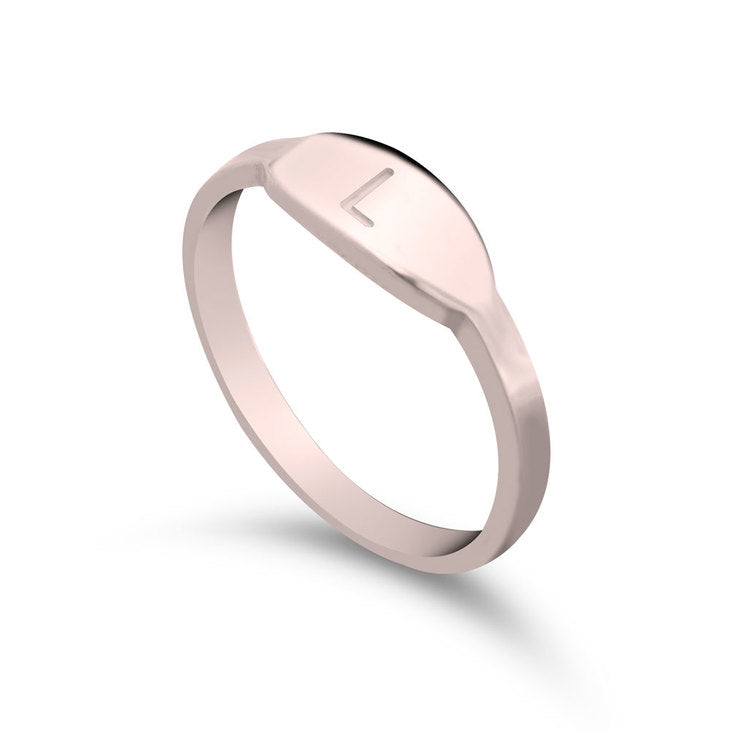 Delicate Single Initial Personalized Ring