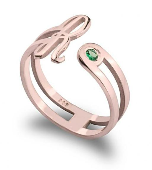 Initial Ring with Birthstone - Rose Gold Rings / Birthstone Rings