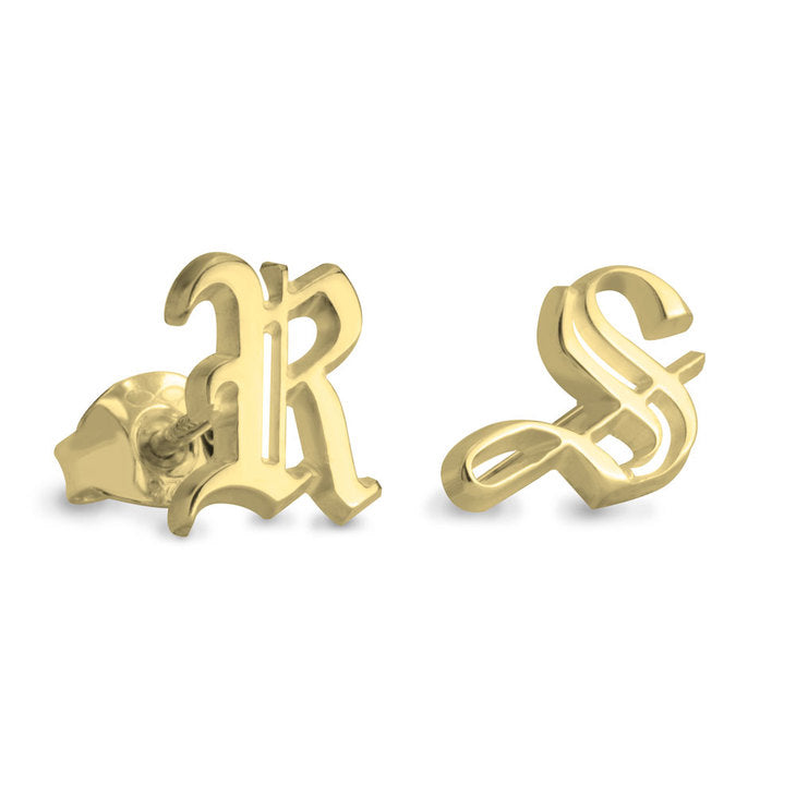 Engraved Gothic Initial Stud Earrings