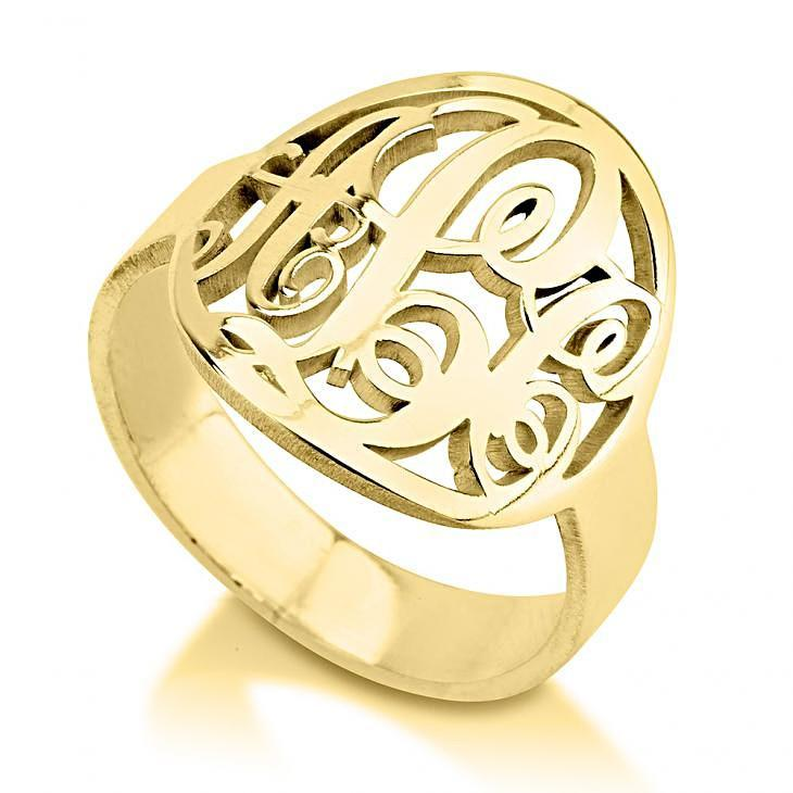 Initials Ring in Punchout Style - 24k Gold Plated Rings / Gold Rings