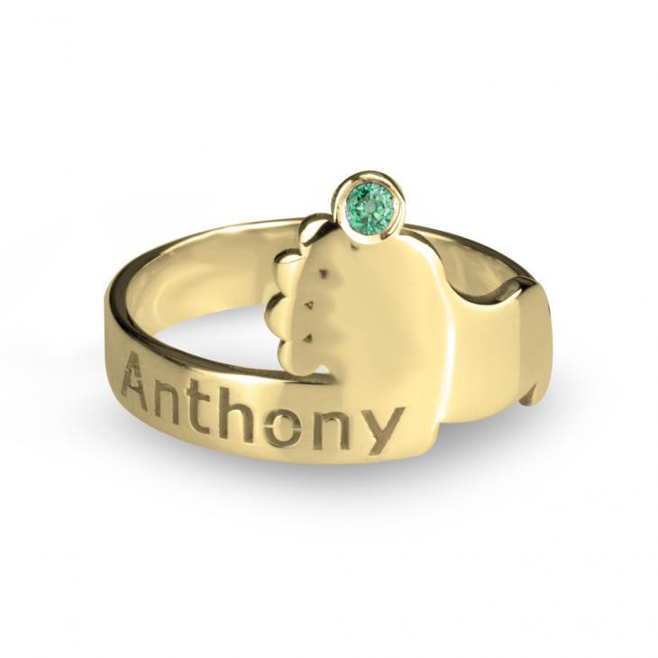 Baby's Footprint Birthstone Ring - Custom 24k Gold Rings / Custom Gold Rings