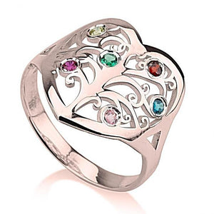 Birthstone Family Tree Ring - Rose Gold Rings / Birthstone Rings
