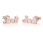 Post Earrings with Name in Block Letter Font