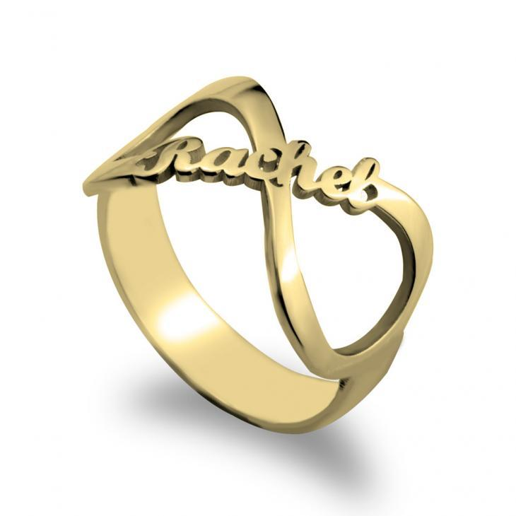 Custom Namesake Forever Yours Infinity Symbol Ring 3 / 24K Gold - 89.99$ Personalized Name