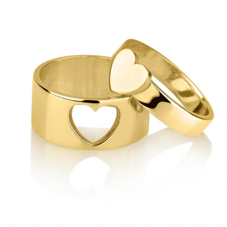 His and Hers Heart Rings - Custom 24k Gold Rings / Custom Gold Rings