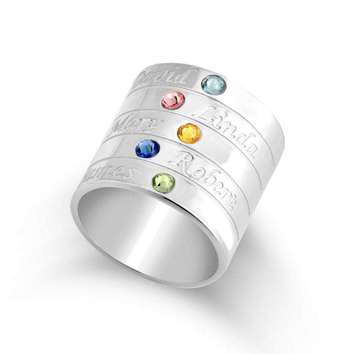 Mother's Engraved Ring with Birthstones