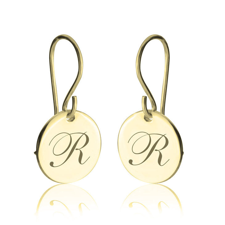 Coin Hook Earrings with Cursive Font Initial