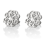 Stud Earrings with Scrollwork-Style Monogram