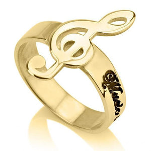 music note ring - 24k Gold Plated Rings / Gold Rings