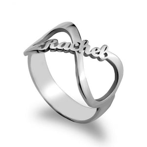 Custom Namesake Forever Yours Infinity Symbol Ring 3 / Sterling Silver - 69.99$ Personalized Name