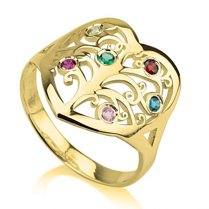 Birthstone Accented Family Tree Cutout Ring