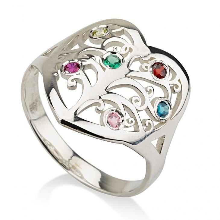 family tree birthstone ring - Sterling Silver Rings / Silver Rings / Birthstone Rings