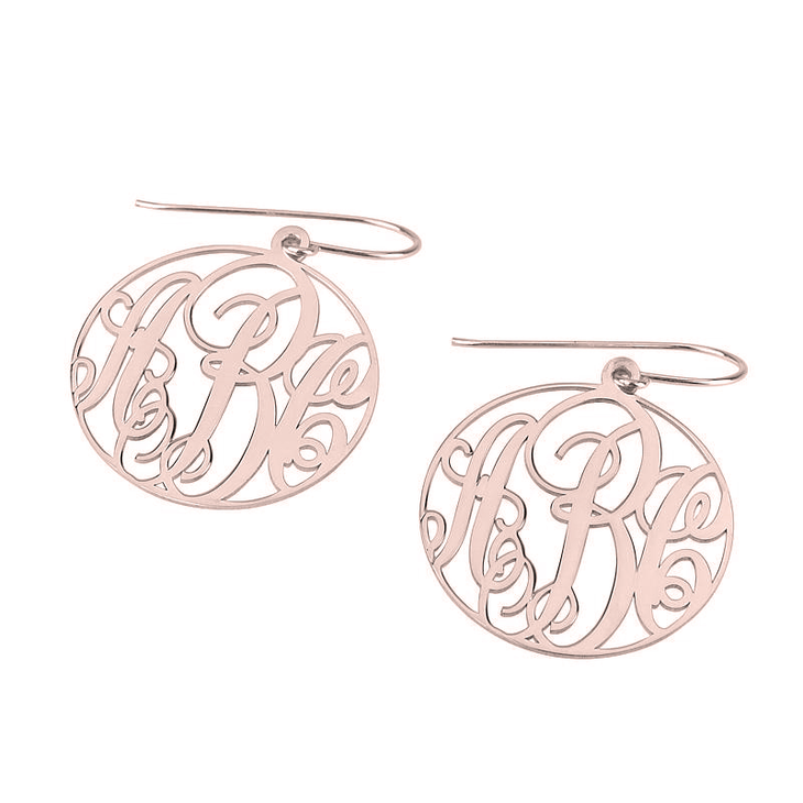 Round Hook Earrings with Cursive Style Monogram