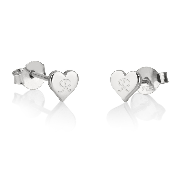 Customized Heart Stud Earrings