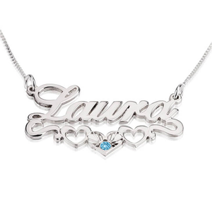 Birthstone and Name Necklace Adorned with Three Hearts