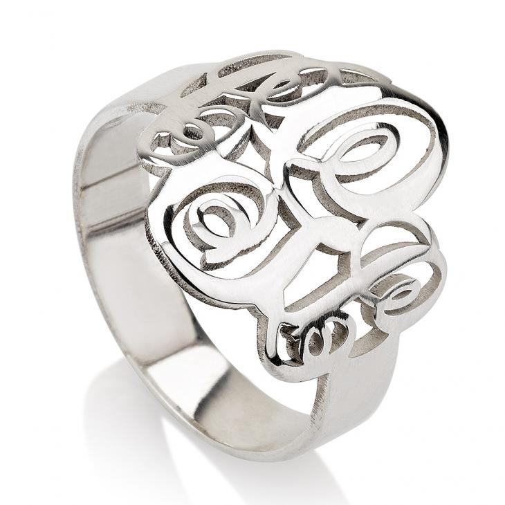 monogram ring silver - Sterling Silver Rings / Silver Rings