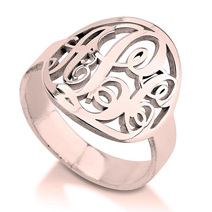 monogram ring - Rose Gold Rings