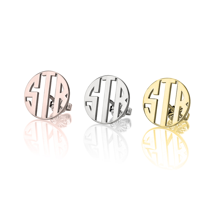 Three Initial Capital Letter Monogram Round Stud Earrings