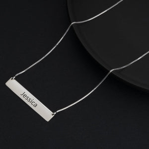 Modern Font Name on a Horizontal Bar Pendant Necklace