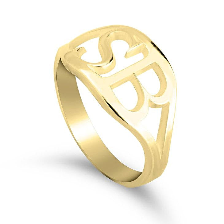 gold initial ring