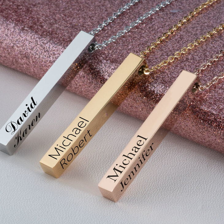 Customizable Necklace with Engraved Four-Sided Bar Pendant
