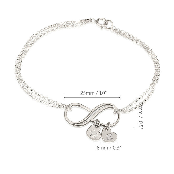 Customizable Bracelet with Infinity Pendant and Heart Charms