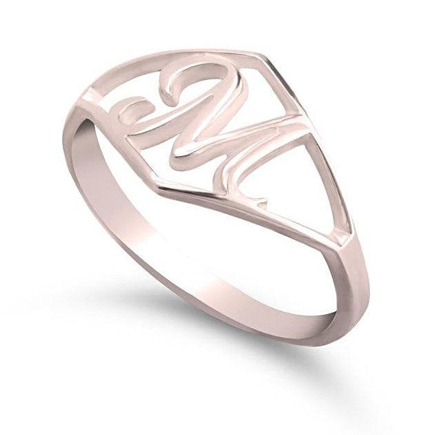 rose gold initial ring - Rose Gold Rings