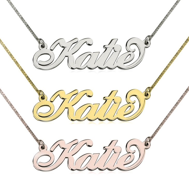 Custom Carrie Namesake Necklace with Cursive Font
